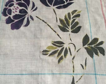 Fresh leaf flower and grass dyed square handkerchief