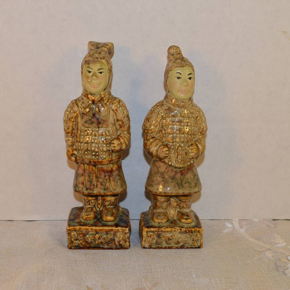 Ceramic Terracotta Warriors Figurines Vintage Chinese Emperor Warrior Statues Qin Shi Huang Army Fighter Chinese Sculpture Asian Decor