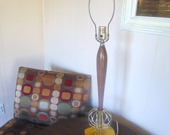 Mid Century Wood Table Lamp, Gold Wire Sphere Lamp