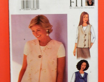 """Today's Fit by Sandra Betzina Butterick 3016 Fast & Easy vest pattern with interesting front closures Uncut 46"""" to 55"""" bust"""