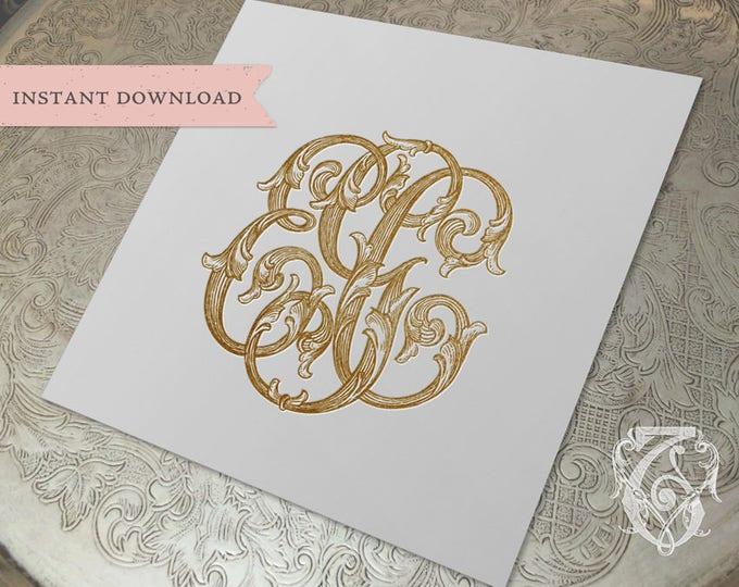 3 Initial Vintage Monogram EGC Three Letter Wedding Monogram Digital Download E G C