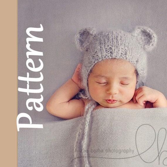 Baby Bear Bonnet Knitting Pattern Newborn Knitting Pattern Photo
