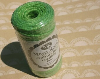Twine Cord - Maya Road Crafting Jute Cording - Green Lime - 100 Yard Spool - Solid Lime Green Cord - DESTASH SALE