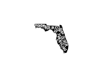 "Handmade in Florida Stamp, Florida Personalized Rubber Stamp - Custom Name - Custom State Stamp - Handmade Stamp - ""Hand Made By"" Stamp"