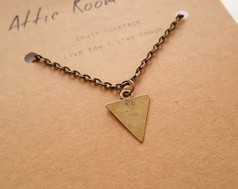 Gold Triangle Necklace, Minimalist Jewelry for Men, Necklace for Men, Friendship Necklace, Triangle Jewelry, Gift for Men, Triangle Necklace
