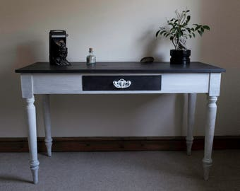 Vintage Rustic Writing Desk Graphite and Chalk White