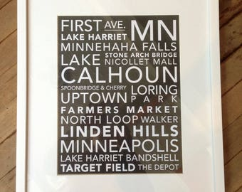 FREE SHIPPING Minneapolis Subway Style Original Design Typography Unframed 11x14 Art Print - 2 Colors Available