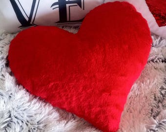 FREE SHIPPING Heart Faux Fur Valentines Day Pillow, Fake Fur Pillow, Red Heart Cushion, Home Decor Love Pillow, Fluffy Pillow