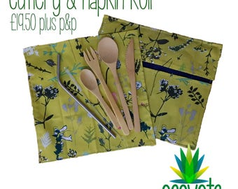Zero waste take along cutlery and napkin roll, custom made to order, reusable bamboo cutlery and steel straw set