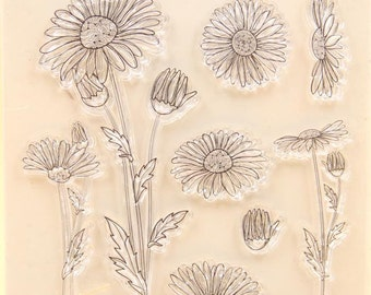 Daisies Clear Rubber Stamp Set w/ flower, daisy, echinacea, bud, silicone, black eyed susan, stamping, scrapbooking