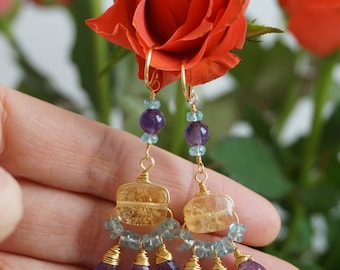 Helen lilac antique style earrings byzantine style, roman style, wire wrapped earrings,museum replica, citrine, amethyst, apatite