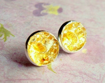 Citrine Earrings, Crushed Gemstone, Citrine Stud Earrings, Sterling Silver, Gemstone Stud Earrings, under 25,