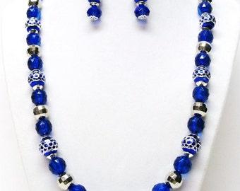 Blue & Silver Acrylic Bead Necklace and Earrings Set