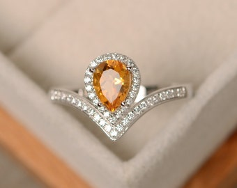 Citrine ring, yellow gemstone, pear cut, engagement ring, silver