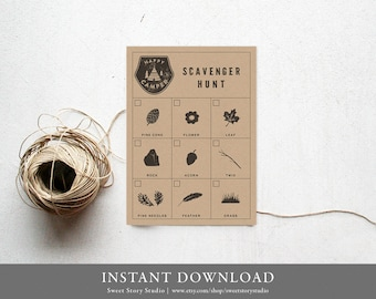 Scavenger Hunt Card | DIY Printable Digital File | Camping Birthday, Happy Camper, Outdoor Birthday Party Game  | DC008