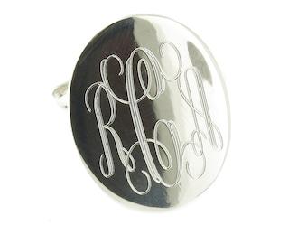 925 Sterling Silver Monogram Engravable Oval Signet Band Ring