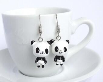 Cute panda dangle earrings jewelry handmade animal charms kawaii