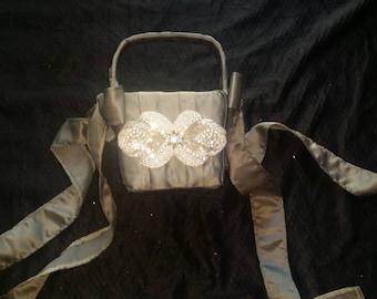 Gray Satin and crystal Flower Girl basket