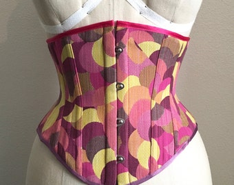 PUIMOND PY01 Pink Cotton Tapestry Cincher Corset Size 20 NEW In-stock