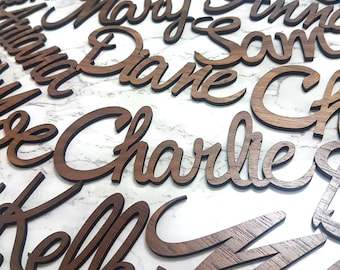 Wood Place Cards, laser cut place cards, Wedding place cards, table settings, Custom name Signs, Calligraphy