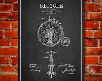 1885 Bicycle Patent Canvas Print, Wall Art, Home Decor, Gift Idea