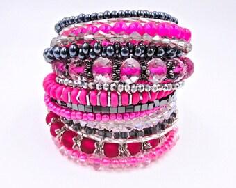 Pink memory wire bracelet, pink beaded bracelet, memory wire wrap bracelet, pink and black bracelet, pink wrap bracelet, pink cuff bracelet