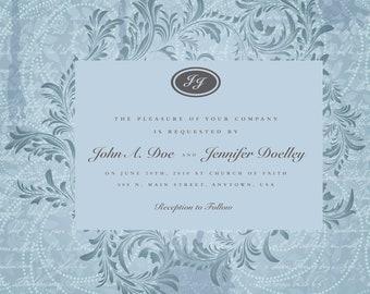 A Wedding Invitation - Ivy Wreath - BLUE - Set of 100