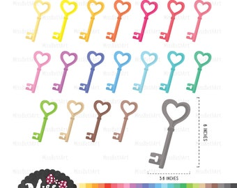 30 Colors Heart Skeleton Key Clipart - Instant Download