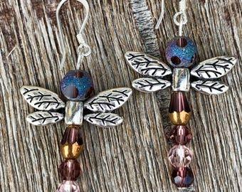 Sterling Silver Dragonfly Beaded Earrings