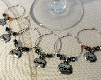 Happy Thoughts Wine Charms - Wine Markers
