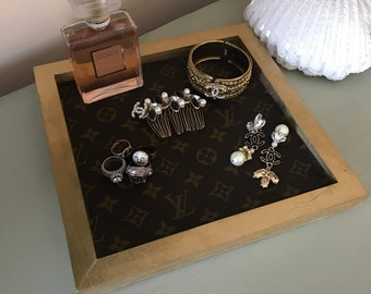 Wood tray lined with authentic Louis Vuitton canvas