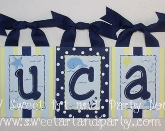 Nautical, Nursery wall letter, Canvas wall letter, Nautical nursery, Beach nursery, art, Blue, Yellow, Whales, Monogram letter, anchors