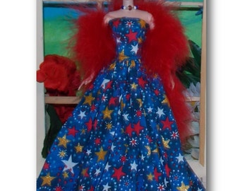 """4th of July """"Freedom""""  Gown, Feather Boa and Necklace.   Handmade Fashion Doll Clothes"""
