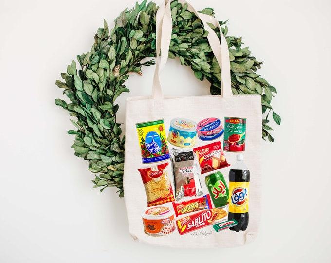 Tote Bag - Cotton ecru - Pop Art - Tunisian Grocery