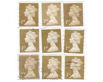 25 Gold postage stamps, 1st class British postage stamps - used Stamps, off paper for collage