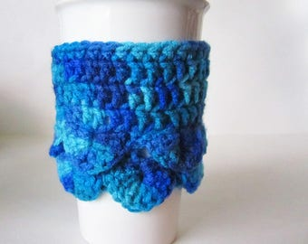 Mermaid Scales Cup Cozy - Blue Sea Coffee Sleeve - Mermaid Tail Coffee Sleeve - Coffee Clutch - Crochet Cup Holder - Travel Cup Sleeve
