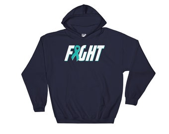 Ovarian Cancer Shirt - Fight Cancer Shirt - Ovarian Awareness - Teal Ribbon - Ovaries Cancer - Survivor - Support Chemo Hoodie Sweatshirt