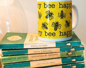 Bee Print Mug - illustrated mug - printed mug - animal mug - tea mug - coffee mug - animal print - bee happy - bee illustration - lino print