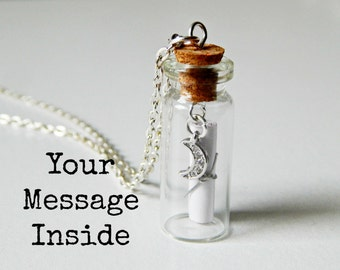 Personalized Jewelry Message in a Bottle Necklace Custom Message Moon Charm Silver Chain Womens accessory mom gift girlfriend present