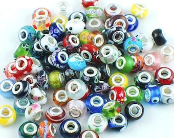 Murano Glass Charm Beads Lamp work 14mm 50pcs Mix Colors Fit European Charm Bracelet