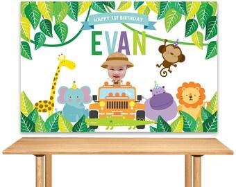 DIGITAL FILE Jungle, Safari, Zoo, Birthday Banner Backdrop, Large Scale Backdrop Printable