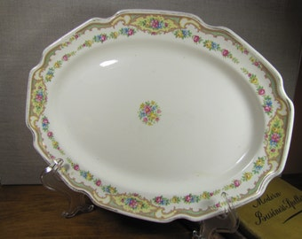 Large Vintage Serving Platter - Floral and Scroll Border - Deep Scallop - Yellow and Green