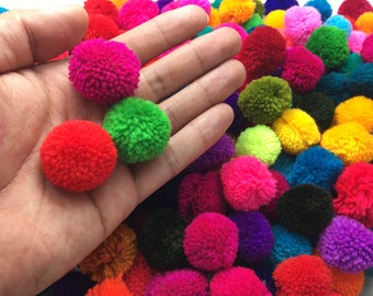 "100 Pom Poms, 2 cm. or 1"" Mixed Colors Handmade Yarn Pom Poms, Decorative Colorful Pom Poms, Yarn Pom Poms"