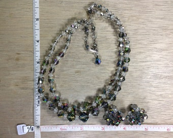 "Vintage 16"" Necklace Clip On Earring Set Smokey Aurora Borealis Beads Used"