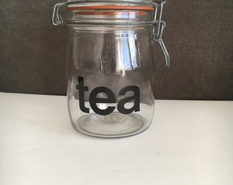 Vintage Hermetic Typography Glass Tea Canister 3/4L