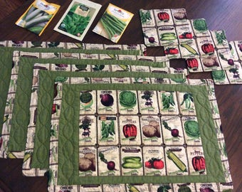 Garden seed placemats and mug rugs, set of 4 each
