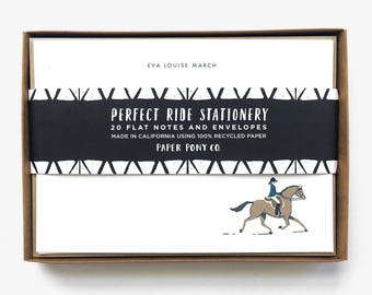 Perfect Ride Personalized Stationery // Customized Equestrian Note Cards Whimsical Illustration Horse Pony Rider Kraft Recycled