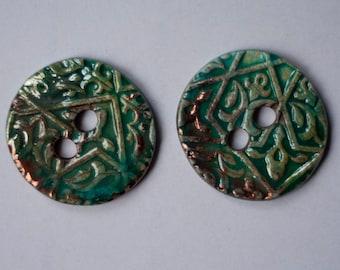 2 ceramic buttons, raku, green, turquoise, blue, copper, handmade, OOAK