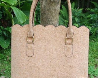 Cork Scalloped Purse / Tote  with Free Personalized / Embroidery / Monogramming