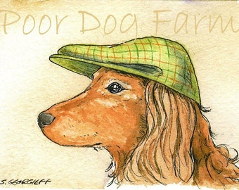ACEO signed PRINT - Another Dashshund with hat -